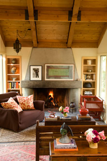 Chef Cindy Pawlcyn's living room in her Napa Valley home
