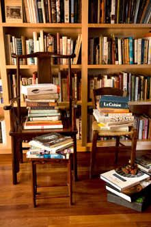 Chef Cindy Pawlcyn's cookbook library in her Napa Valley home