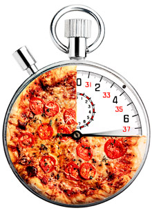 Pizza pie on a scale