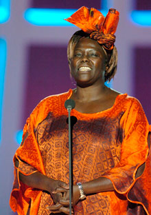 Wangari Maathai on stage