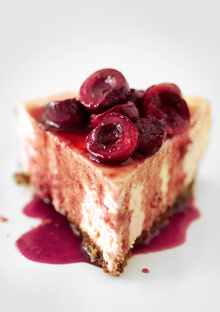 Goat Cheese Cheesecake goat cheese cheesecake with spiced cherry topping