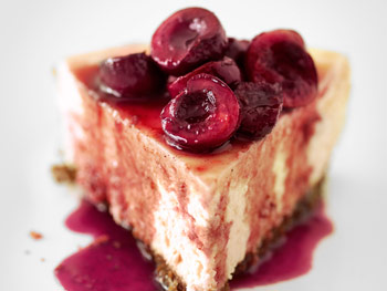Goat Cheese Cheesecake with Spiced Cherry Topping