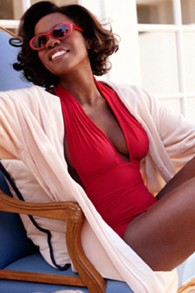 Viola Davis in a Norma Kamali bathing suit