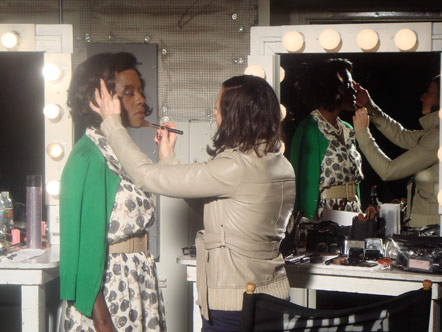 Viola Davis getting makeup