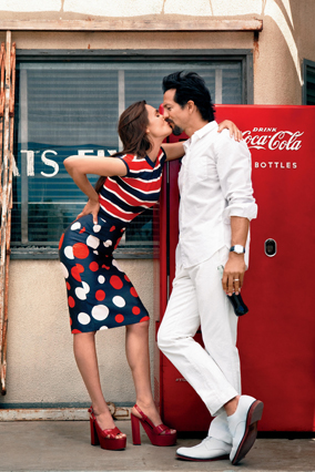 Benjamin Bratt and Talisa Soto in O The Oprah Magazine - diner