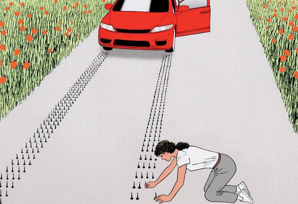 Tacks on a road