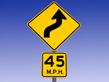 45 mile per hour road sign