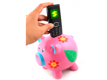 Piggy bank and cell phone