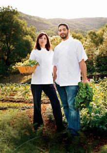 Chefs Deanie and Jeremy Fox in vegetable garden