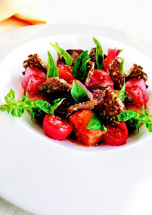 Heirloom Tomatoes with Gin, Juniper, Basil, and Black Bread