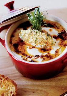 Cauliflower in a Cast-Iron Pot with Raw Cauliflower Couscous Garnish