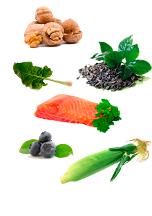 Walnuts, green tea, spinach, salmon, blueberries, and corn