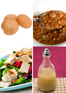 Whole wheat rolls, lentil soup, nonfat dressing, and salad with grilled chicken