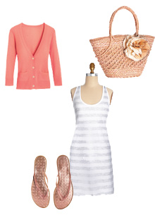 American Apparel minidress, JCrew cardigan, Coach flip flops, JCrew tote