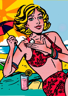 Illustration of a woman on a beach