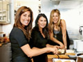 Jewels and Jill Elmore and Jennifer Aniston in kitchen