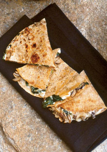 Mushroom Quesadillas on Whole Wheat Tortillas