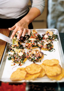 Cavolo Nero and Red Cabbage Tostadas with Spicy Shrimp and Cumin-Scented Vinaigrette