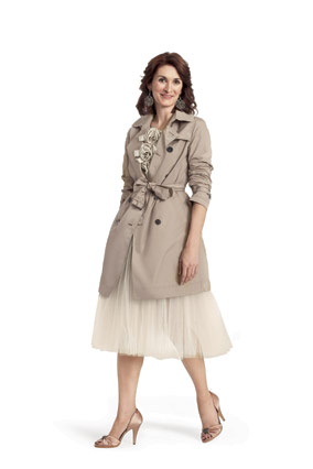 Trench coat with evening attire