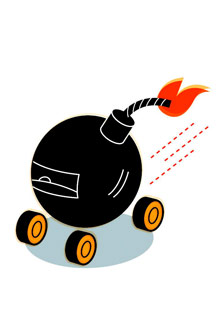 Illustration of bomb with wheels