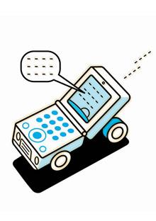 Illustration of cellphone car