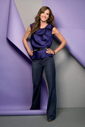 Ann Taylor purple blouse and trousers