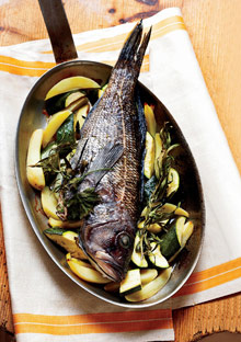 Baked Bass with Fingerlings and Zucchini