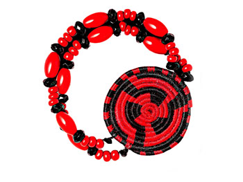 Red and black czech glass o bracelet