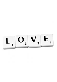 Scrabble letters spelling out love