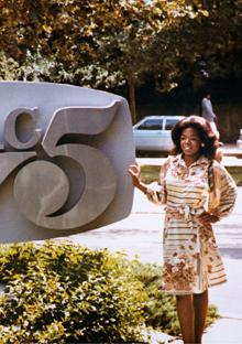 Oprah outside the Nashville station where she got her start.