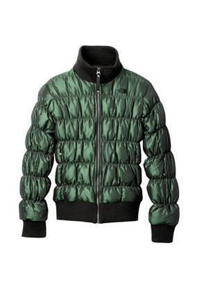 The North Face green puffer jacket
