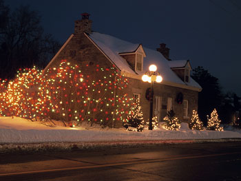 Christmas lights on a house
