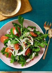 Cara Cara Orange, Arugula, and Vidalia Onion Salad with Ricotta Salata and Pomegranate