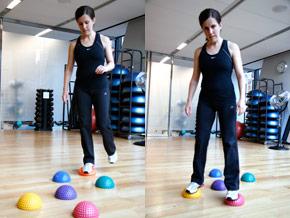 Balance pod hopscotch fitness move