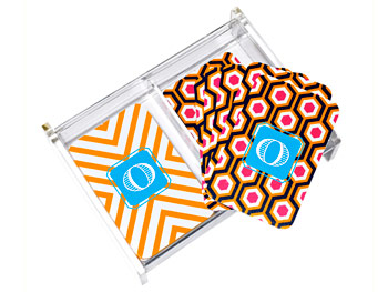 Monogrammed Playing Cards and Lucite Box