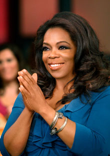 Oprah at a show taping