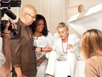 Ellen DeGeneres behind the scenes of the O, the Oprah Magazine December cover