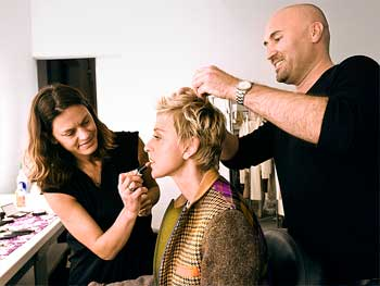 Ellen DeGeneres getting makeup for the December cover of O, the Oprah Magazine