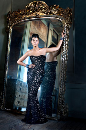 David Meister holiday party gown