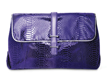 Perlina embossed leather clutch