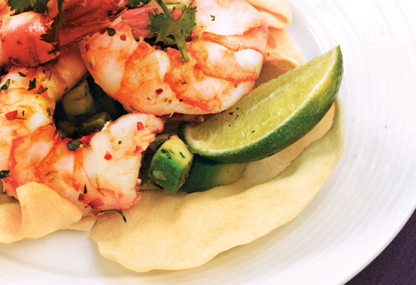 Ginger and Marinated Lime Shrimp with Avocado Salsa
