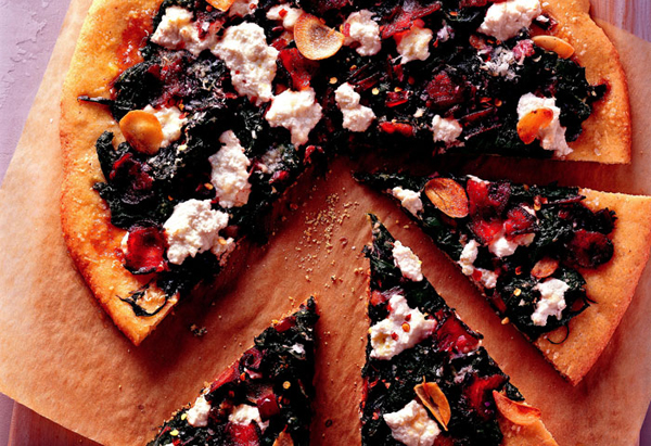 Cornmeal Crust Pizza with Greens and Ricotta