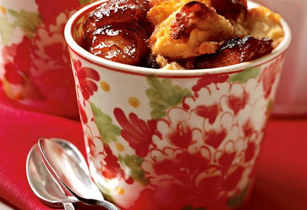 Caramelized Banana Raisin Bread Pudding