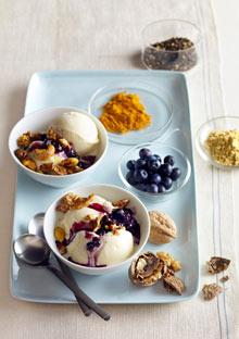 Frozen Yogurt Sundae with Spiced Nuts