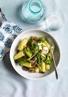 Pasta with Walnut Pesto, Sausage, and Broccoli Rabe