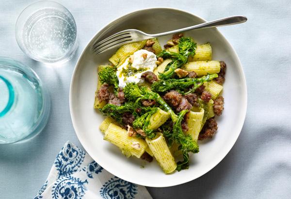 Pasta with Walnut Pesto, Sausage and Broccoli Rabe