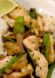 Curried Chicken Stir-Fry with New Potatoes and Snow Peas