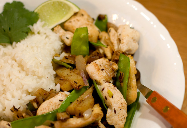 Mark Bittman's Curried Chicken Stir-Fry with New Potatoes and Snow Peas recipe