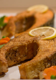 Quick-Braised Salmon with Minty Peas and Carrots