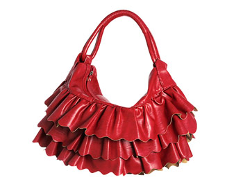 ruffle-trimmed shoulder bag